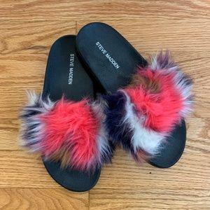 Steve Madden Multi Color Faux Fur Slide Sandals